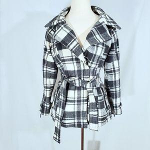 Jou Jou Gray Plaid Wool Blend Pea Coat